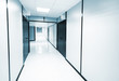 canvas print picture - Abstract empty white office interior. Monochrome blue toned phot