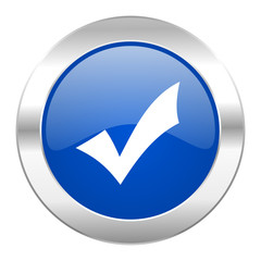 accept blue circle chrome web icon isolated