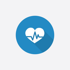 heart pulse Flat Blue Simple Icon with long shadow.