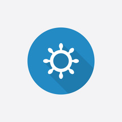 ship wheel Flat Blue Simple Icon with long shadow.