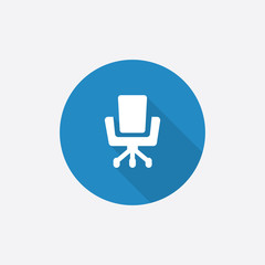 Office chair Flat Blue Simple Icon with long shadow.