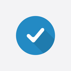 ok Flat Blue Simple Icon with long shadow.