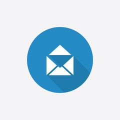 mail Flat Blue Simple Icon with long shadow.