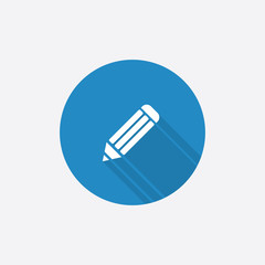 pencil Flat Blue Simple Icon with long shadow.