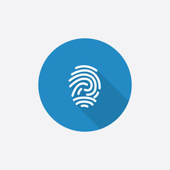 fingerprint Flat Blue Simple Icon with long shadow.