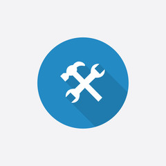 repair Flat Blue Simple Icon with long shadow.
