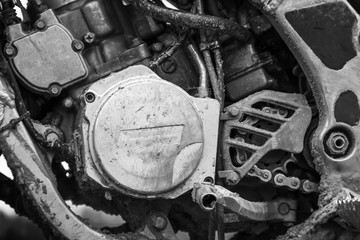 Close-up monochrome fragment of sport motocross bike engine