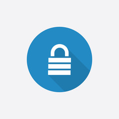lock Flat Blue Simple Icon with long shadow.
