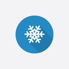 snowflake Flat Blue Simple Icon with long shadow.