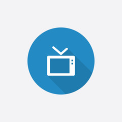 tv Flat Blue Simple Icon with long shadow.