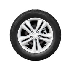 Modern automotive wheel isolated on white