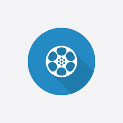 video film Flat Blue Simple Icon with long shadow.