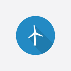 wind mill Flat Blue Simple Icon with long shadow.