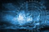 Modern ship radar digital screen above blue abstract background - 71720305