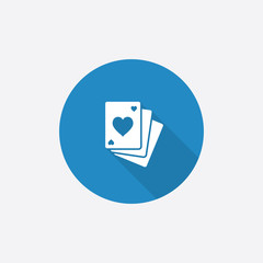 poker Flat Blue Simple Icon with long shadow.