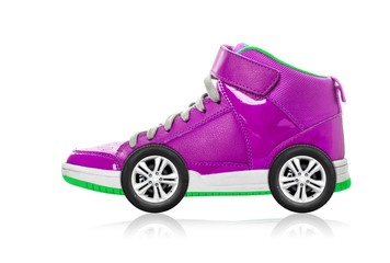 Violet Sport shoe with wheels isolated on white, speed concept