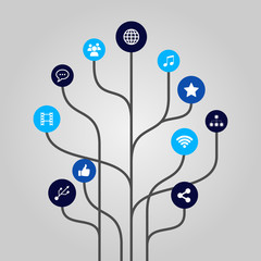 Abstract icon tree illustration - internet and media concept