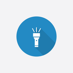 flashlight Flat Blue Simple Icon with long shadow.