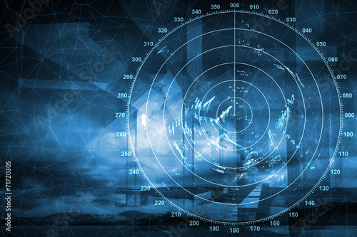 Modern ship radar digital screen above blue abstract background