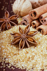 Anise star with cinnamon sticks and walnuts on brown cane sugar