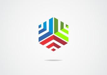 cube building 3D triple pyramid geometry vector logo