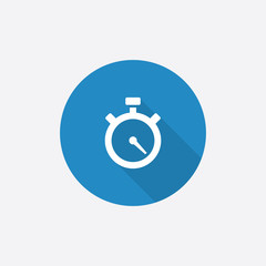timer Flat Blue Simple Icon with long shadow.