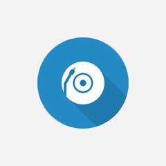 Vinyl turntable Flat Blue Simple Icon with long shadow.