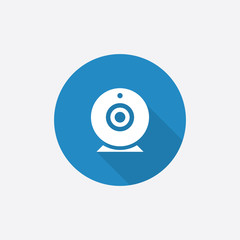 web camera Flat Blue Simple Icon with long shadow.