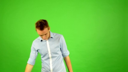 man - green screen - portrait -  pace the room (man waits)