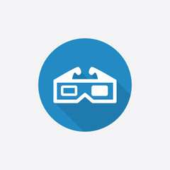 3d movie Flat Blue Simple Icon with long shadow.