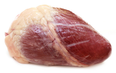 Close up of Beef heart over white background