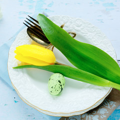white plates and yellow tulip