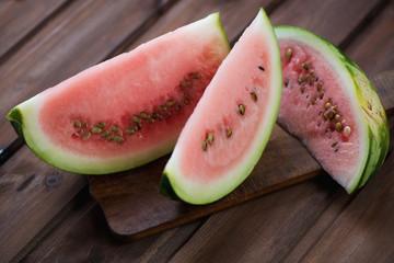 Close-up of watermelon slices, horizontal shot