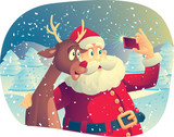 Santa Claus and Rudolph Taking a Photo Together