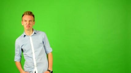 man - green screen - portrait - man is amazed (surprised)