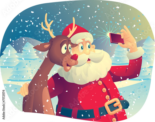 Santa Claus and Rudolph Taking a Photo Together - 71721174