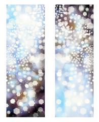 Vector glitter blue banners.