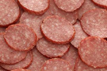 Slices of smoked sausage