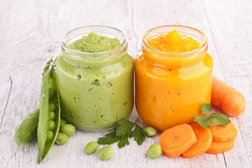 carrot and pea puree