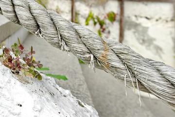 White Rope Handrail Close-up