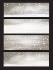 Vector nature snowfall banners.