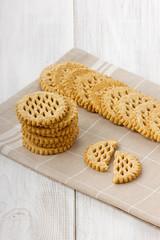 Cookies on a beige linen napkin