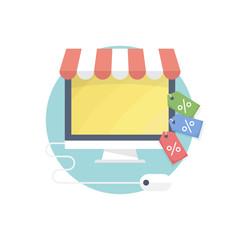 Flat design concept: online shopping.