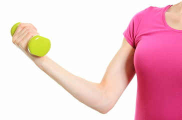 Hand of woman during fitness exercise with dumbbells