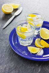 Water with lemons and ice