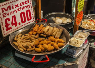 Mixed spring rolls and crab claws in Camden Town