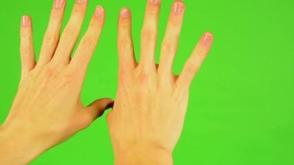 man hands - green screen