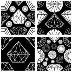Vector set of seamless pattern from diamond design elements