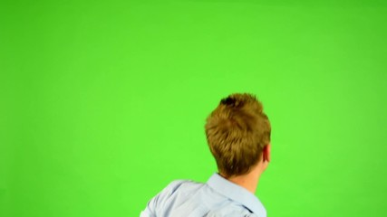 man - green screen - portrait - man rejoices (enjoy)