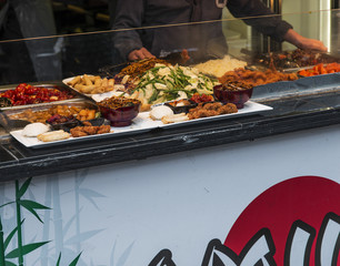 Typical chinese food exposed in Camden Town